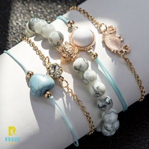Jewelry - 🆕Real Stone Turtle Crab Aqua Gold 5 Bracelet Set